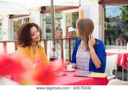 Friends In Coffeshop Terrace