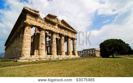 Temple Of Neptune The Famous Paestum Archaeological  Site . Italy