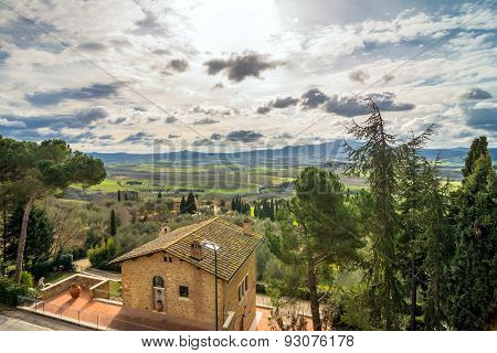 Panoramic View Of Val D'orcia From Pienza, Italy