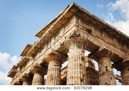 Close Up Of Temple Of Neptune In Paestum. Italy