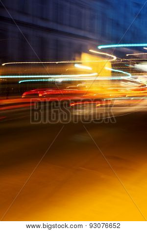 The Light Trails On The Street In Moscow