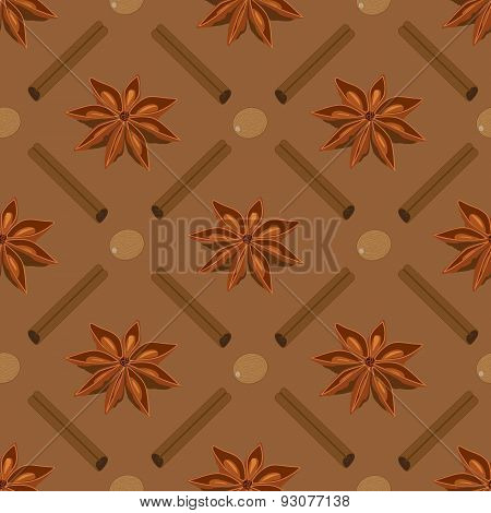 Spices seamless pattern. Star anise, nutmeg, cinnamon sticks.