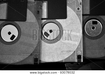 Floppy Disk Background In Black And White