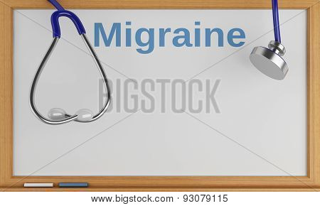 3D Blackboard With The Word Migraine. Medical Concept