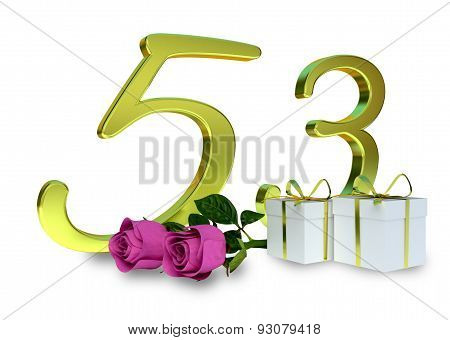 fifty-first birthday concept with pink roses - 53th