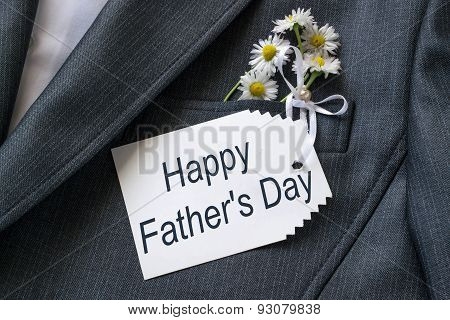 The Idea Congratulations Father: Card With An Inscription And Flowers
