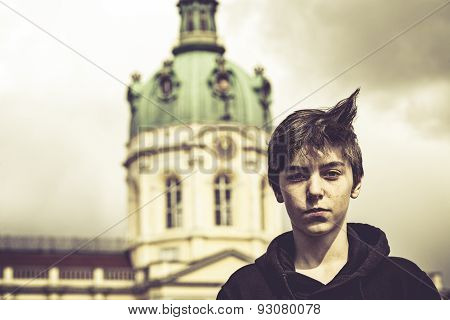 Portrait Of A Teenage Boy In Front Of The Schloss Charlottenburg, Berlin