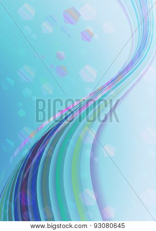 Luminescent strips on blue gradient background with small polygons