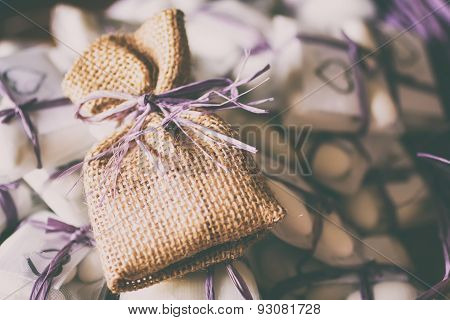 Purple Raffia, Confetti And Jute Sachet