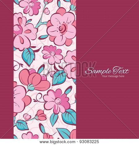 Vector pink blue kimono flowers vertical frame seamless pattern background