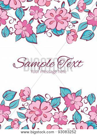 Vector pink blue kimono flowers vertical double borders frame invitation template
