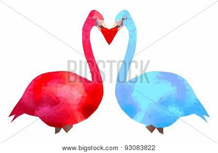 Hot pink and blue flamingo couple