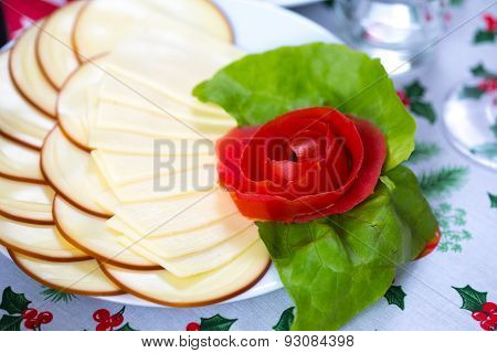 Decorated plate with light and healthy meal