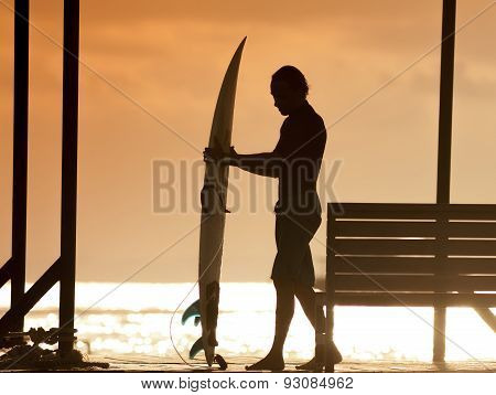 Surfer  At Sunset Tme