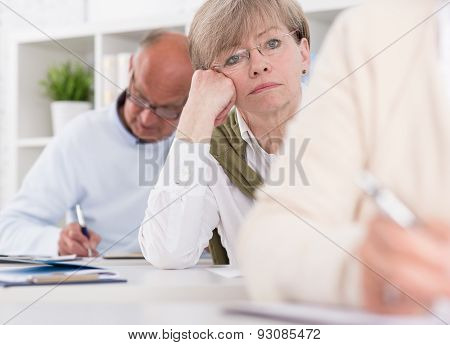 Worried Woman Writing Difficult Exam