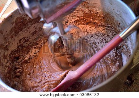 Mixing Homeade Chocolate Cake In Stainless Steel Stand Mixer