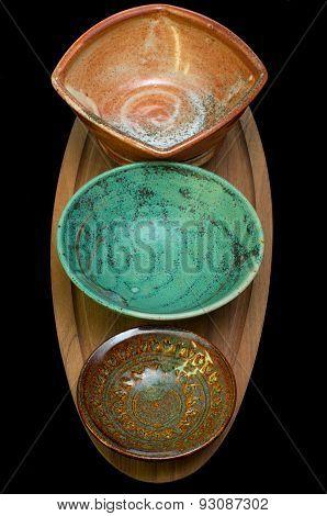 Ceramic Bowls On Serving Tray