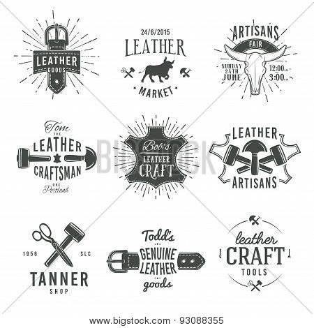 Second set of grey vector vintage craftsman logo designs, retro genuine leather tool labels. artisan
