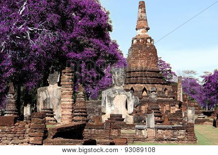 Technicolor Old Temple Ancient Wat In Kamphaeng Phet