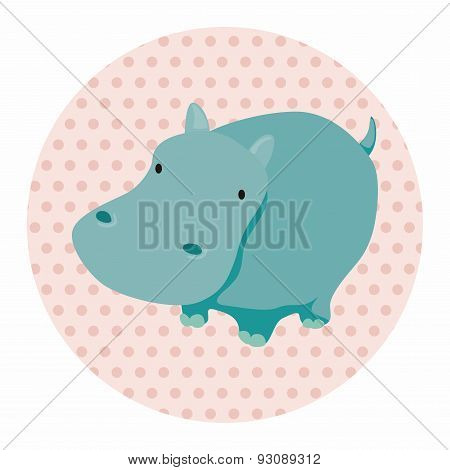 Animal Hippo Cartoon Theme Elements