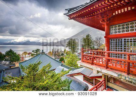 Nikko, Japan viewed in the autumn from Chuzen-ji Temple complex.