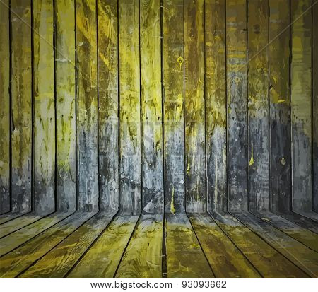 painted old wooden wall. yellow room, vector