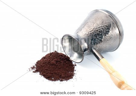 Coffee Pot And Ground Coffee