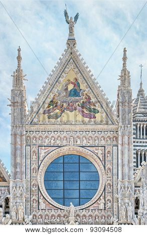 Siena Cathedral detail in Tuscany, Italy