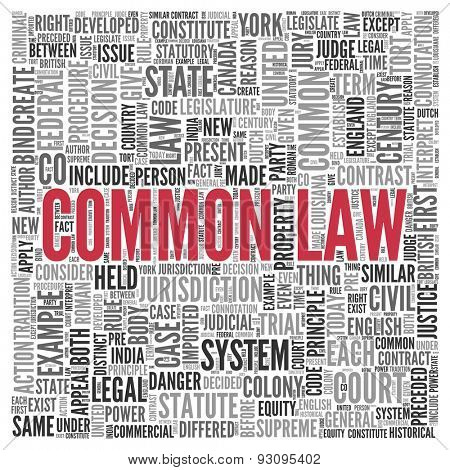 Close up COMMON LAW Text at the Center of Word Tag Cloud on White Background.