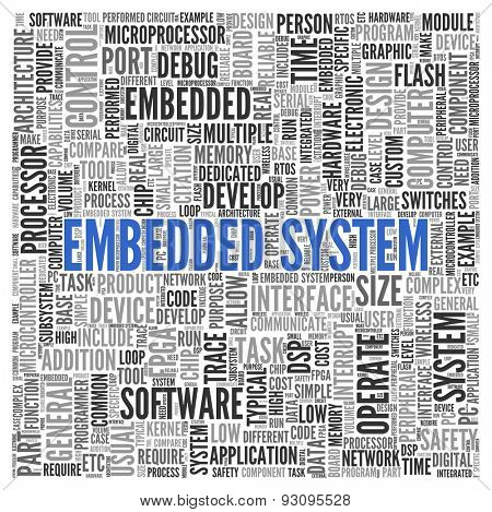 Close up EMBEDDED SYSTEM Text at the Center of Word Tag Cloud on White Background.
