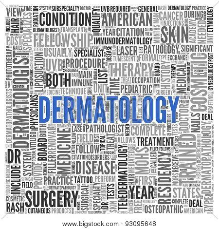 Close up DERMATOLOGY Text at the Center of Word Tag Cloud on White Background.