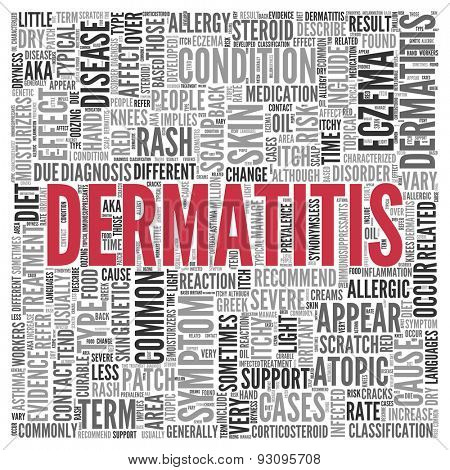 Close up DERMATITIS Text at the Center of Word Tag Cloud on White Background.