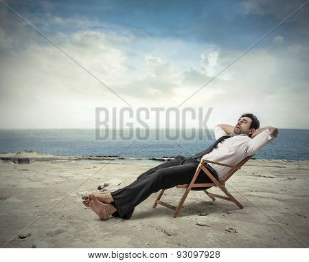Employee relaxing at the beach