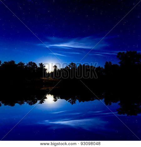 Night scene over lake water