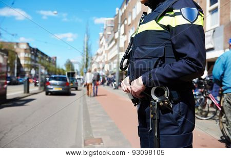 city security and safety. policeman watching order in the urban street