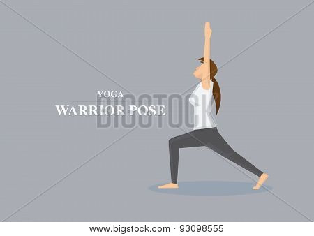 Hatha Yoga Asana Warrior Pose Profile View Vector Illustration