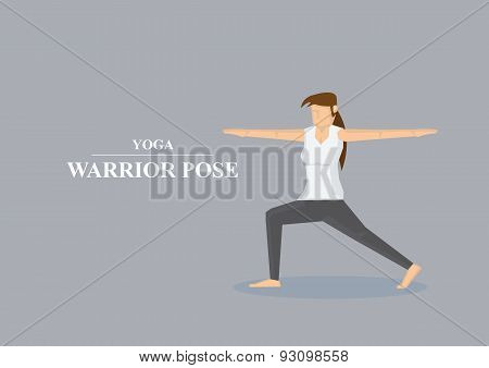 Yoga Asana Warrior Pose Vector Illustration