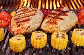 stock photo of roast chicken  - BBQ Roast Chicken Breast With Vegetables On The Hot Flaming Charcoal Grill - JPG