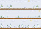picture of pixel  - Vector pixel art winter day background for video games and web design - JPG