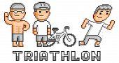 image of triathlon  - Pixel funny logo triathlon for game and design - JPG