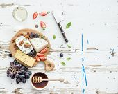 image of pecan nut  - Cheese appetizer selection or wine snack set - JPG