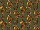 stock photo of seahorse  - Seamless pattern of decorative ornamental floral seahorses - JPG