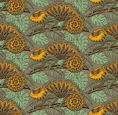 image of chameleon  - Seamless pattern with ornamental chameleons in jungle - JPG
