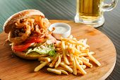 picture of burger  - burger with french fries - JPG