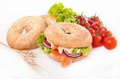 foto of bagel  - bagel with smoked salmon and cheese - JPG