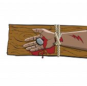stock photo of passion christ  - The arm of Jesus Christ tied bleeding and crucified on a wooden cross illustration - JPG