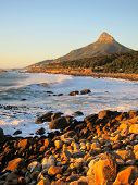 stock photo of lions-head  - Coast line at the atlantic side of Table mountain in South Africa - JPG