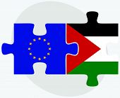 foto of union  - European Union and Palestine Flags in puzzle isolated on white background - JPG