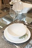 stock photo of crockery  - Crockery set over a table ready to be served - JPG