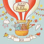 foto of gift basket  - Lovely happy birthday card in bright summer colors - JPG